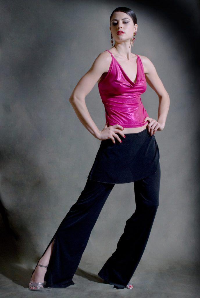 Top tango Cruzada fuxia lucido
