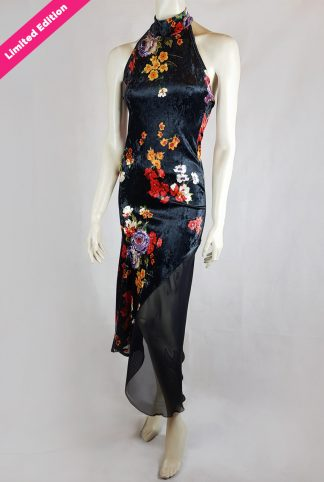 Chacarera tango dress floral black velvet limited edition