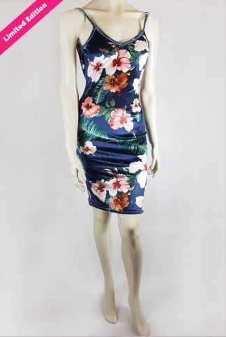 Jalouise tango dress floral blue velvet limited edition