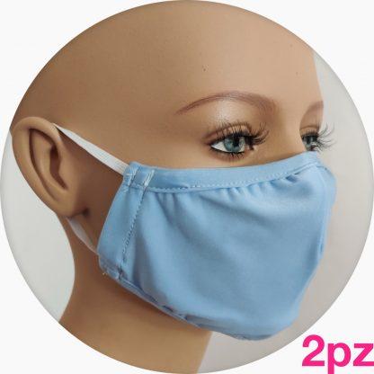 mascherina in tessuto tecnico azzurra - 2pz