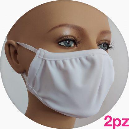 mascherina in tessuto tecnico bianca - 2pz