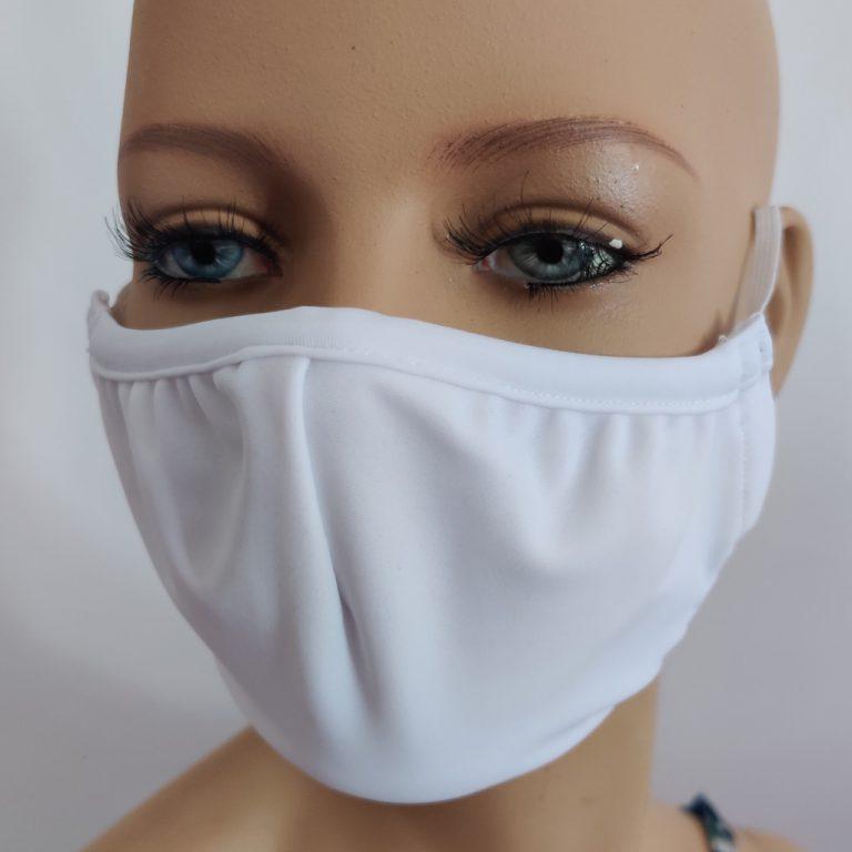 mascherina in tessuto tecnico bianca
