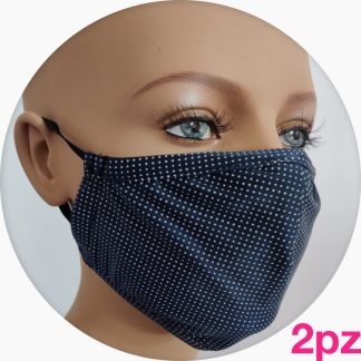 mascherina in tessuto tecnico blu pois bianchi - 2pz