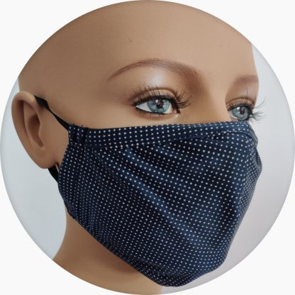mascherina in tessuto tecnico blu pois bianchi