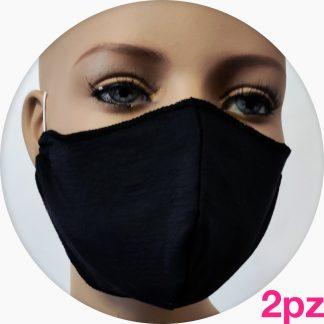 mascherina in cotone doppiata in TNT grigia - 2pz